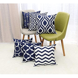TOS™ Jute Printed Cushion Cover (Pack of 5, 40 cm*40 cm, Dark Blue Colour)