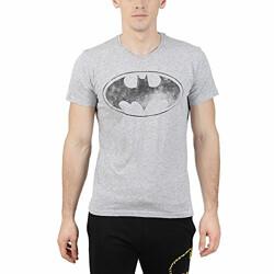 Batman by Free Authority Men's Printed Regular Fit T-Shirt (BM0GMT2329_Grey Nepps_S)