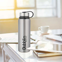 DUBBLIN Turbo Premium Stainless Steel Double Wall Vacuum Insulated BPA Free Water Bottle, Sports Thermos Flask Keeps Hot 12 Hours, Cold 24 Hours (Silver ,1100 ML) (Turbo 1100 Silver)