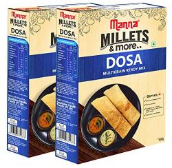 Manna Instant Multigrain Millet Dosa Ready Mix | Dosa Batter | 360g (180g x 2 Packs) Serves 8 | Made with Foxtail Millet, Little Millet & Kodo Millet
