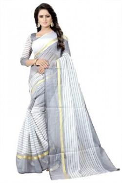 Clothfab Striped Bollywood Cotton Silk Saree(White)
