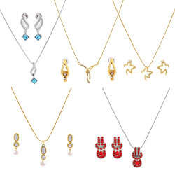 Gehena By Estele Gold plated necklace set combo of 5 for women with fancy austrian crystals