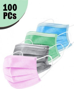 Mango People 3 Ply Mask (Box of 100 3 Ply Pink/Grey/Blue and Seafoam Green.(25 Pcs of Each Color Mask), 100% Original only with HOBF Box  Can be returned without if you dont get in HOBF BOX. MP3PLY-MIX-100 Surgical Mask(Free Size, Pack of 100, 3 Ply)