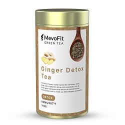 MevoFit 100% Natural Detox Tea | Green Tea Leaves | Loose Leaf Tea (100 GMS | 50 + Cups) (MevoFit Ginger Detox Green Tea)
