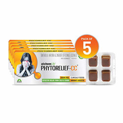 AlchemLife PhytoRelief-CC | Fights cough, cold & sore throat | Natural immunity booster | Clinically tested & patented solution (Pack of 5)