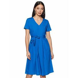 Amazon Brand - Eden & Ivy Cotton wrap Dress (SS20/SB-06_Cobalt_S)