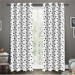 Flipkart Perfect Homes 214 cm (7 ft) Cotton Door Curtain (Pack Of 2)(Printed, Black, White)