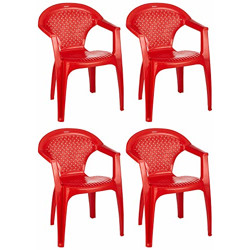 Amazon Brand - Solimo Tigris Plastic Chair Set of 4 (Red)