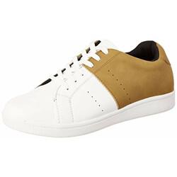 Amazon Brand - House & Shields Men's White/Mustard Sneakers - 9 UK (43 EU) (10 US) (AZ-HS-074)