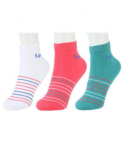 Lee Women's Socks (Pack of 3) (LEAO0598_Latino Bay, White and Paradise Pink_Free Size)