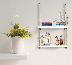 VAH 2 Tier White Wood Rope Hanging Shelf/Rack, Bohemian-Nordic Style, Perfect for Home & Office Decor and Like Wooden Shelf