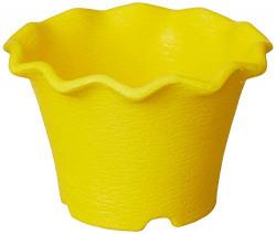 Gardens Need 100% Virgin Plastic Orchid Pot -05 (125) | Set of 8 Planter, (13cm x 13cm x 8cm, Yellow)