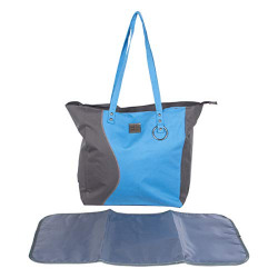 Mee Mee Multipurpose Diaper Bag (with Bottle Warmer & Changing Mat, Blue Grey)