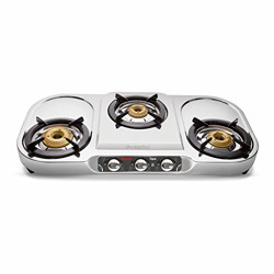 Preethi topaz Stainless Steel 3 burner gas stove, Manual Ignition, Silver