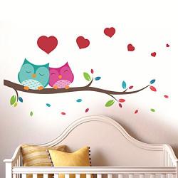 Decals Design 'Love Couple Owl' Wall Sticker (PVC Vinyl, 25 cm x 70 cm)
