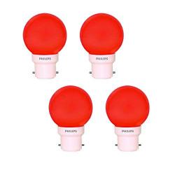 Philips Deco Mini Base B22 0.5-Watt LED Bulb (Pack of 4, Red)