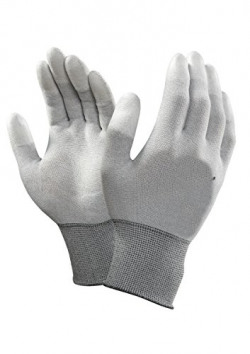 SCHOFIC Carbon Fiber ESD Anti-Static Gloves PU Fingertip Coated Top fit Non-Slip Wearable Gloves Safety Working Hand Gloves, Multicolour
