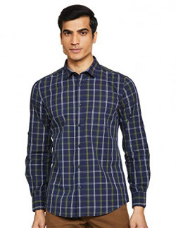 Amazon Brand - Symbol Men's Checkered Regular fit Casual Shirt (AW20-SY-YDT-12_Navy&Green L)