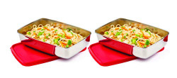 Signoraware Crispy steel Container small, 550ml+550ml, Set of 2, Red