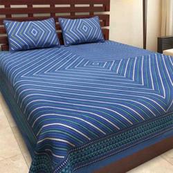 shri shyam 0 TC Cotton Double Printed Bedsheet(Pack of 1, Dark Blue)