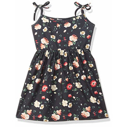 Gubbarey Cotton Blend Fit and Flare Casual Dress (DRG2011_Black,Multi-Color_10-11 Y)