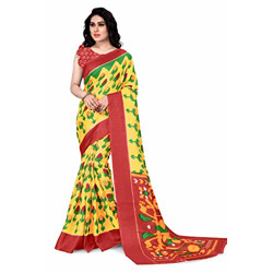 SOURBH Women's Ikat Khadi Silk Printed Saree with Blouse Piece (21114-Yellow, Red-Free Size)