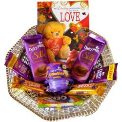 Cadbury Chocolate Gift Hamper with Beautiful Love Card Combo(dairy milk - 2, Card - 1, 5 star - 2, silk - 2, Lickables - 1, gems - 1, Basket-1)