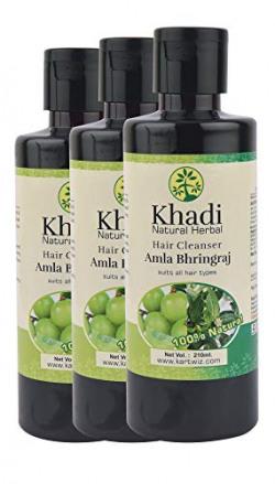 Khadi Natural Herbal Natural Amla and Bhringraj Shampoo, 210 ml (Pack of 3)