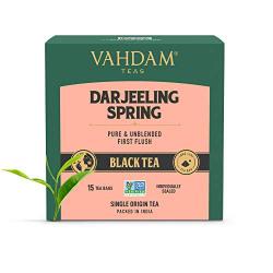 VAHDAM Exotic Darjeeling First Flush Tea Leaves,15 Tea Bag, Long Leaf Pyramid Darjeeling Tea Bags, Aromatic & Flowery, 100% Pure Unblended First Flush Darjeeling Tea