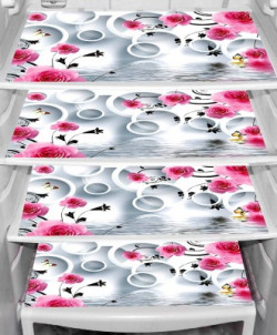 LooMantha Fridge Mat(Pink, White)