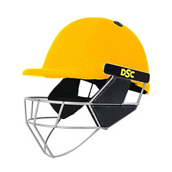 DSC Scud Premium Cricket Helmet for Men & Boys with Neck Guard (Fixed Spring Steel Grill | Back Support Strap |Lightweight |Size:Medium (Yellow)