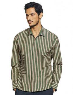 RIVER JJ Valaya Designer Regular fit Casual Shirt (DBS/PL04/SH052_Green Stripe_M