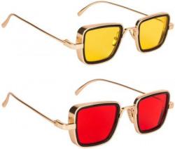 PHENOMENAL Retro Square Sunglasses(For Men & Women, Yellow, Red)