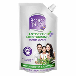 BOROPLUS Antiseptic + Moisturising Hand Wash - Neem, Green Tea & Aloe Vera (Refill Pouch with Spout)
