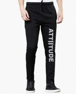 FabryKa Printed Men Black Track Pants