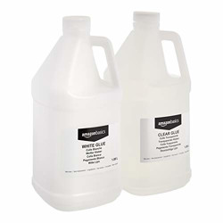 AmazonBasics 1.8 Liter Clear Glue and 1.8 Liter Gallon White Glue, 2-Pack Combo - Glue for Perfect Slime