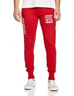 T2F Men's Boyfriend Slim Track Pants (MNS-JOG-01_Red_Medium)