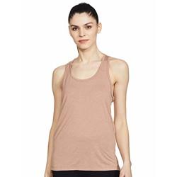 Nike' Women's Regular Yoga Shirt (CQ8827-283_Desert DUST/HTR/Fossil Stone S)