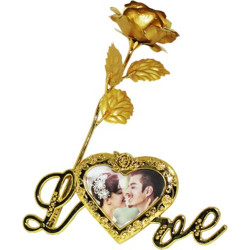 eastern club Golden Rose With Photo Frame No Artificial Flower