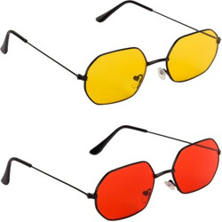 BRYAN ADAMS Rectangular Sunglasses(For Men & Women, Red, Yellow)
