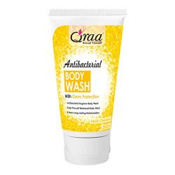 Qraa Antibacterial Body Wash With Goodness Of Haldi Chandan, Germ Protection Shower Gel, Soap Free, pH Balanced, Long Lasting Moisturizing, Sulfate Free Shower Gel 200ml