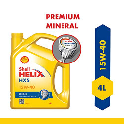 Shell Helix HX5 15W-40 API CH4 Premium Mineral Engine Oil for Diesel Cars (4 L)