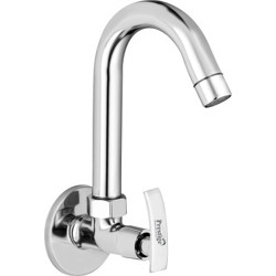 Prestige Passion (Sink Cock) Brass Tap For Bathroom/Kitchen Pillar Tap Faucet (Silver) Spout Faucet(Wall Mount Installation Type)