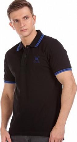 U.S. POLO ASSN. Solid Men Polo Neck Black T-Shirt