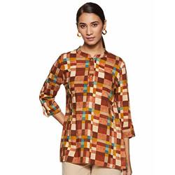 AVIRA Women's Rayon Straight Kurta (MC-27_Brown_S)