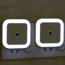 WORA Square Modern Design for Bedroom Automatic Light Sensor LED White pack of 2 Night Lamp(10 cm, White)