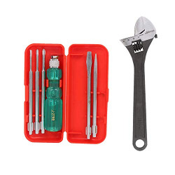 Suzec Johnson Basic Home Kit 5-Pieces Screwdriver Kit (Multicolour) & Heavy Duty Adjustable Wrench (250 mm)- Multi