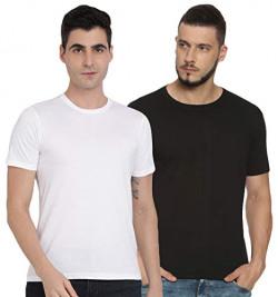 Diverse Solid Regular Men's Tshirt (Pack of 2) (DCMTSP02RC07L35-3_White, Black 2XL)