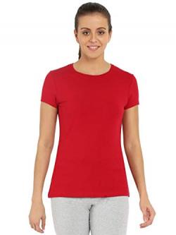 Jockey Women's Plain T-Shirt(8901326163290_1515_Jester Red_Medium)