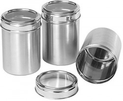 Renberg Stainless Steel Canister Set of 3, 300ml, Silver (RBIN-6080)  - 300 ml Steel Tea Coffee & Sugar Container(Pack of 3, Silver)